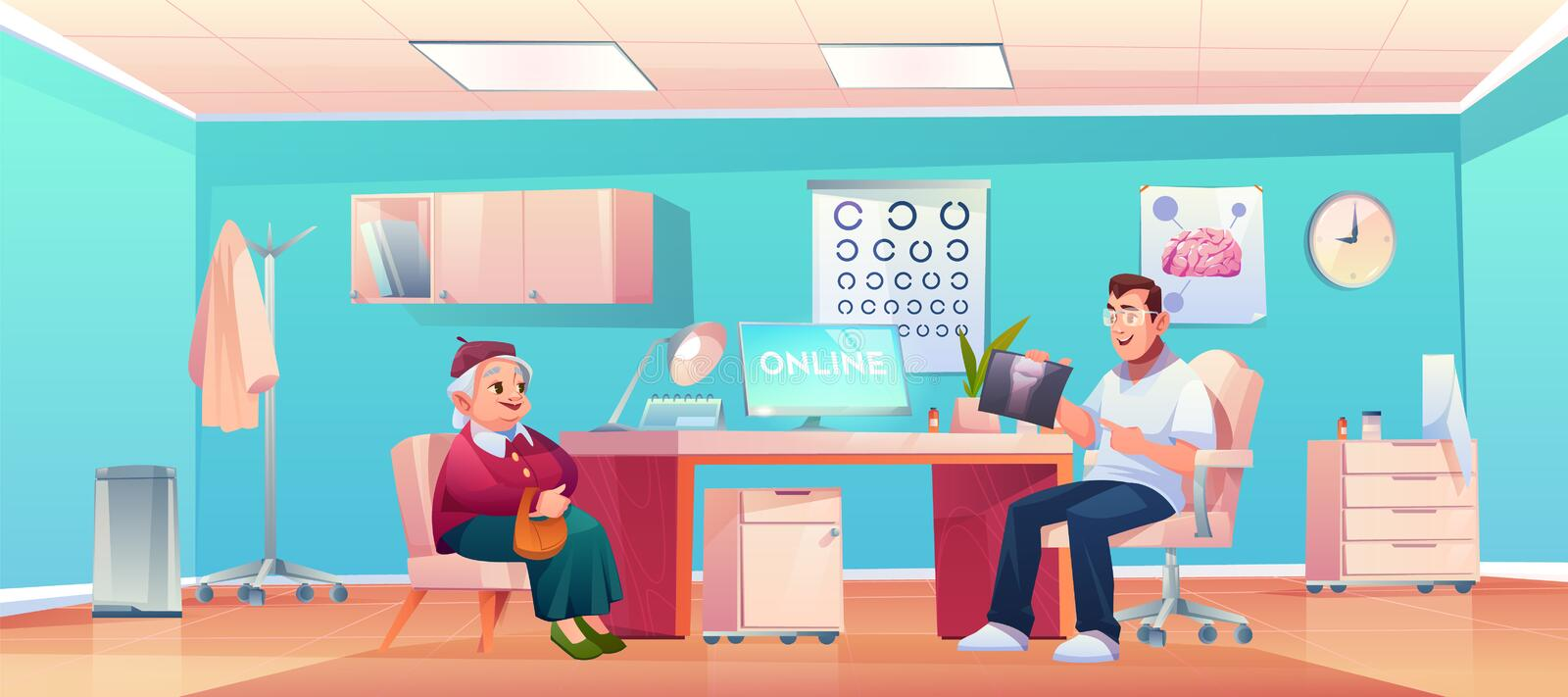 Senior patient at doctor therapist office checkup. Senior patient at doctor therapist office, old lady and man practitioner at hospital medical office or cabinet vector illustration