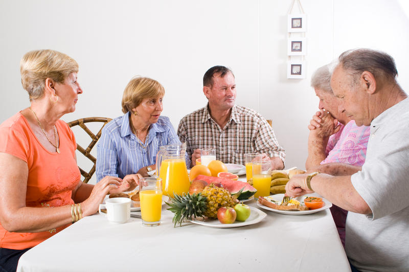 Senior people breakfast stock photo