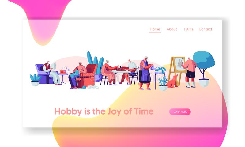 Senior People Creative Hobby. Elderly Characters Spending Time in Nursing Home Listening Music, Painting, Playing Chess, Knit. Website Landing Page, Web Page stock illustration