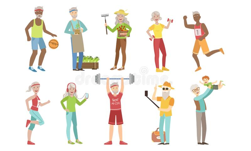 Senior People Different Activities and Hobbies Set, Healthy and Active Lifestyle of Cheerful Elderly Men and Woman. Vector Illustration on White Background royalty free illustration