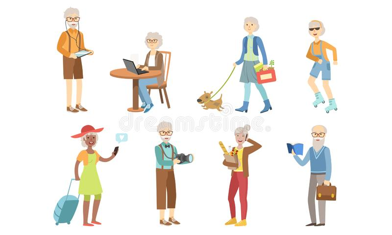 Senior People Different Activities and Hobbies Set, Healthy and Active Lifestyle of Elderly Men and Woman Vector. Illustration on White Background stock illustration