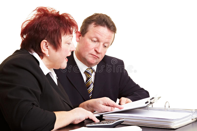 Senior people discussing financial royalty free stock photo
