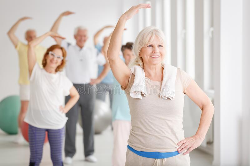 Senior people on fitness royalty free stock images