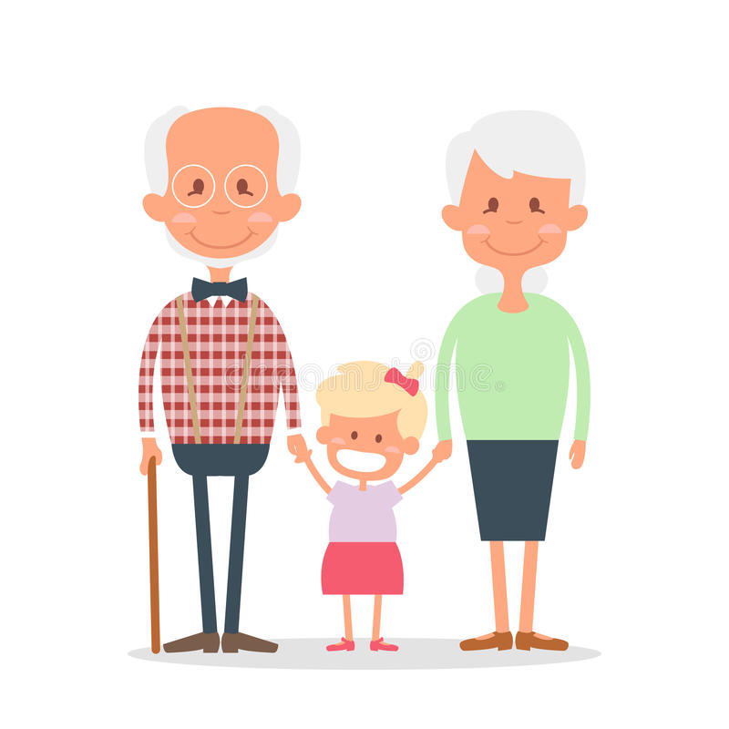 Senior people happy leisure time with granddaughter. Happy Grandparents with little granddaughter. Vector illustration.  stock illustration