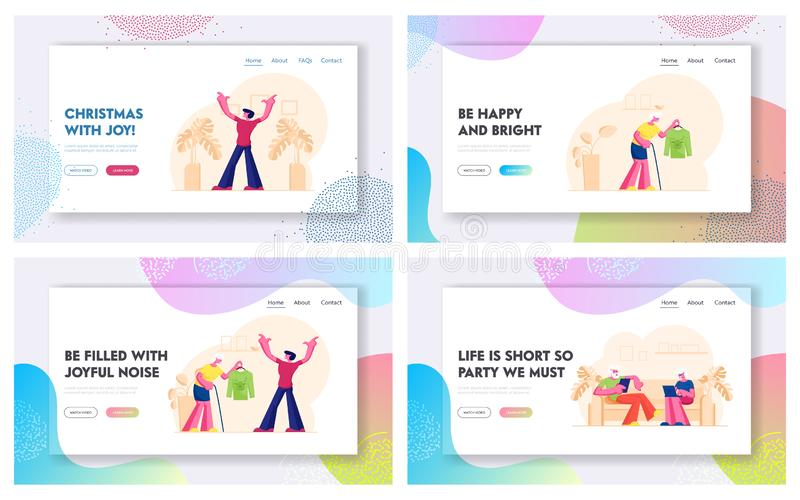 Senior People Lifestyle Website Landing Page Set. Old Couple Using Smart Gadgets. Grandmother Presenting Sweater stock illustration