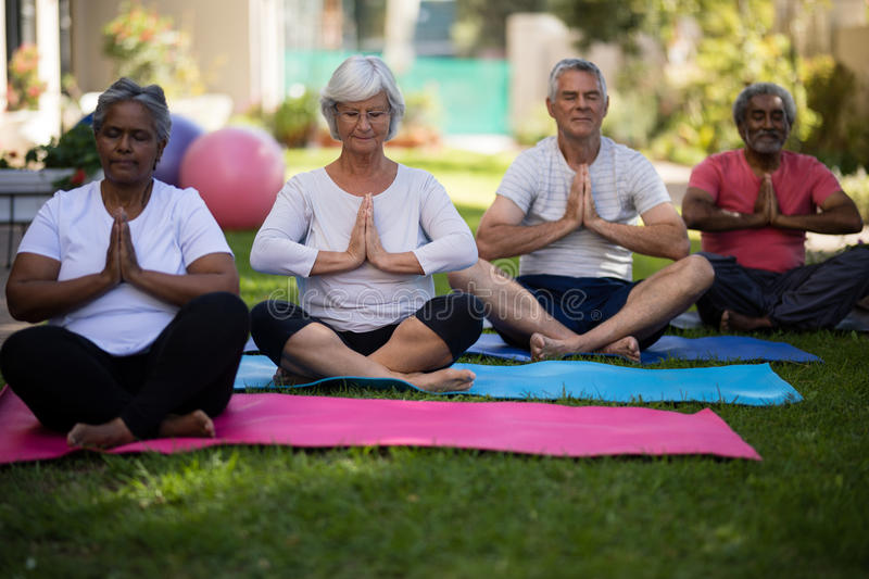 Senior people sitting in prayer position at park. Multi ethnic senior people sitting in prayer position on yoga mats at park royalty free stock images