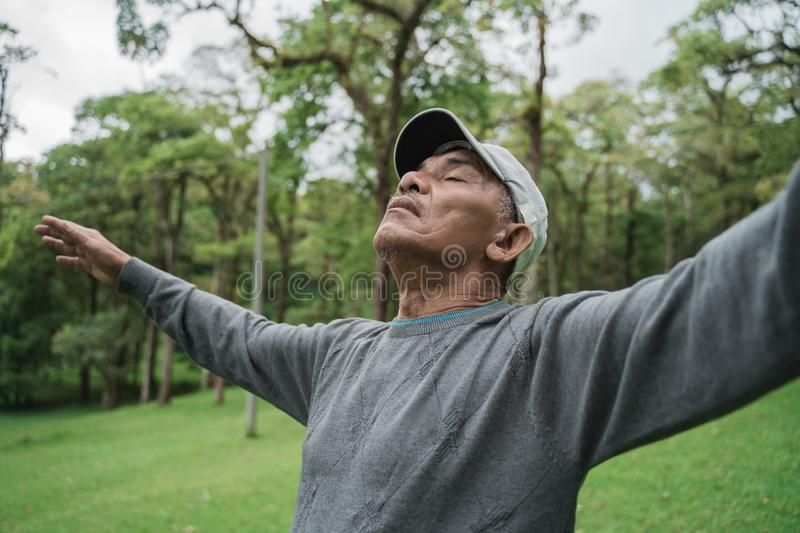 Senior people take a deep breath stretch out and raise arm. While in the park stock image