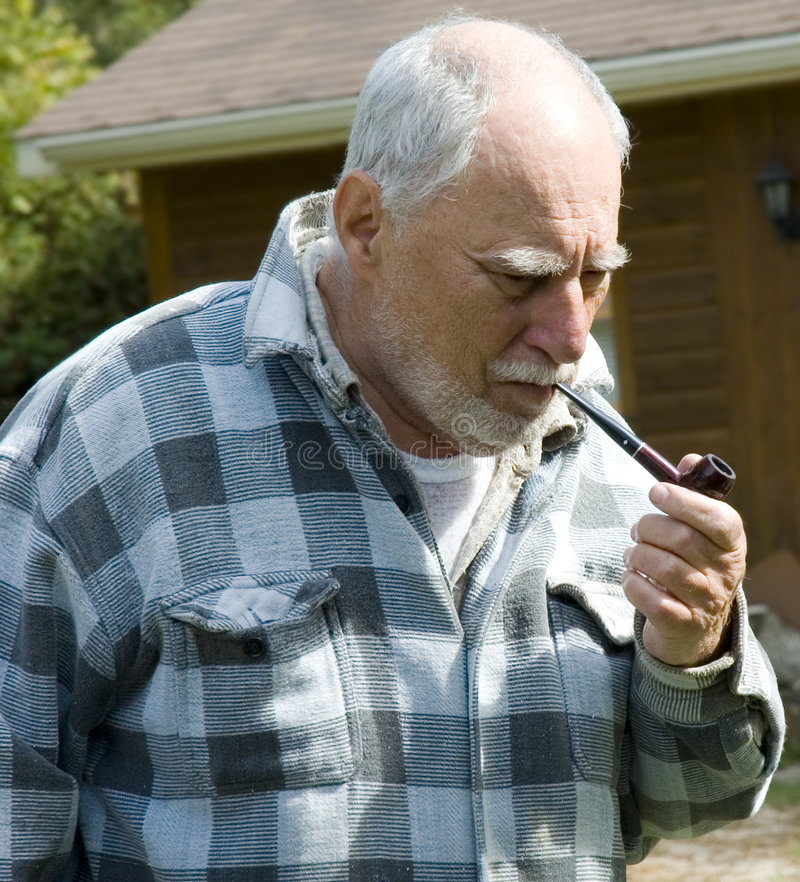 Download Senior with a pipe 1 stock photo. Image of happy, expression - 1233758