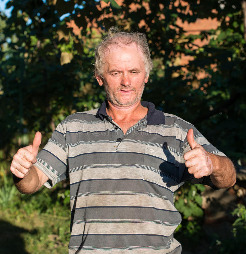 Download Senior Poor Man Showing Yes Sign Stock Photo - Image: 32492612