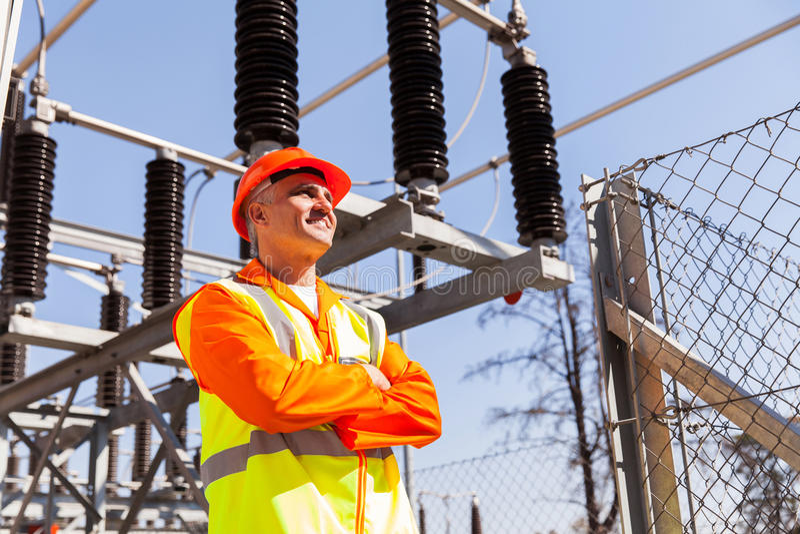 Senior power technician royalty free stock photos