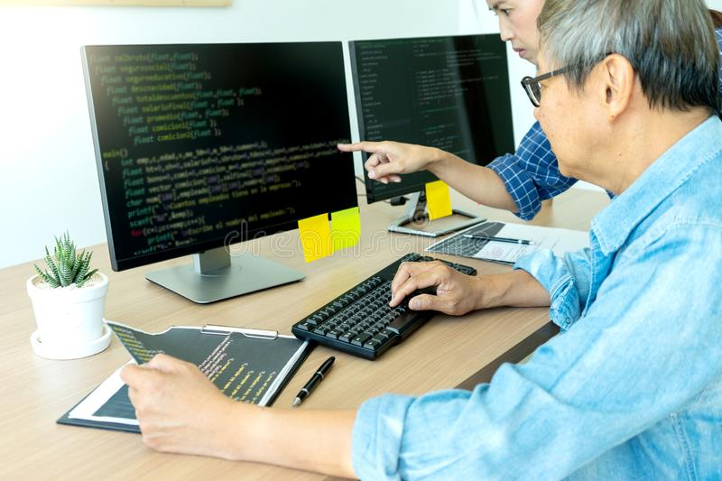 Senior programmer work with Developing programming royalty free stock photography