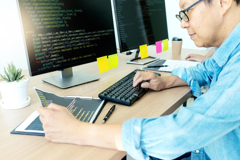Senior programmer work with Developing programming stock photography
