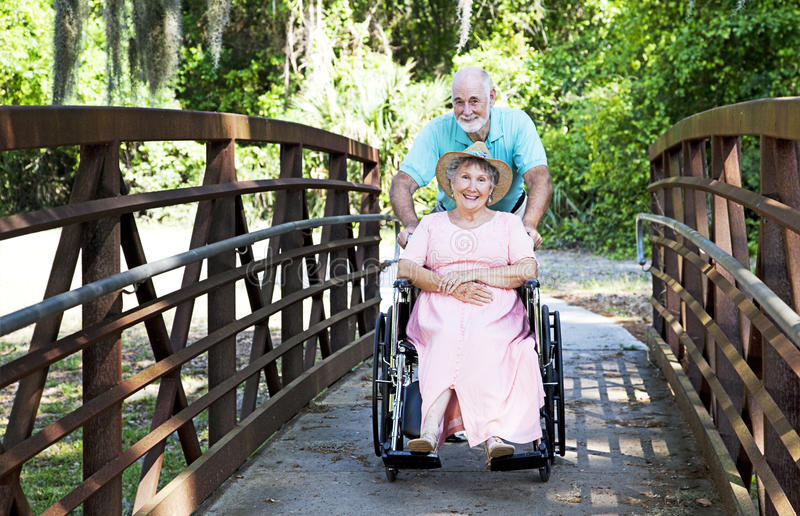 Download Senior Pushes Wife In Wheelchair Stock Photo - Image: 14650104