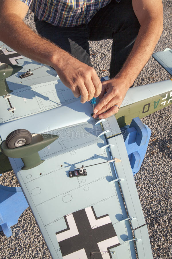 Download Senior RC Modeller And His New Plane Model Stock Image - Image: 33028695