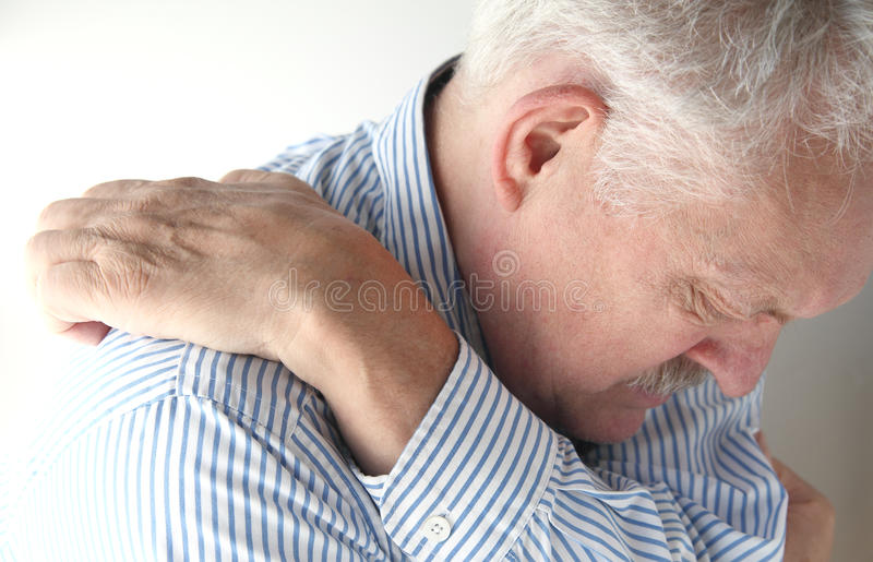 Download Senior Reaches To Scratch His Back Stock Image - Image: 32115847