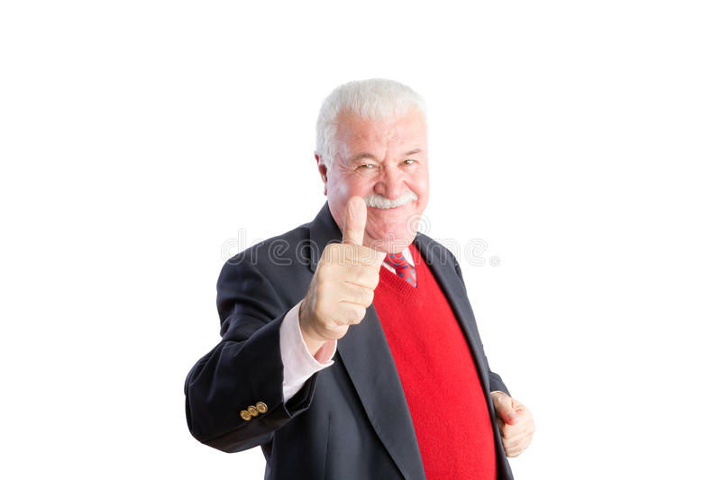 Senior in red sweater and business suit smiles stock image