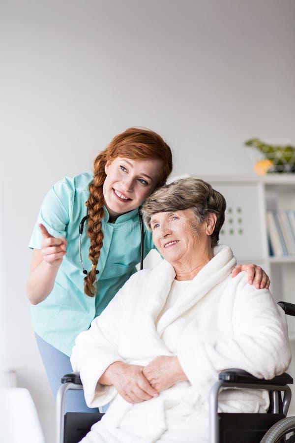 Senior resident of care home stock photos