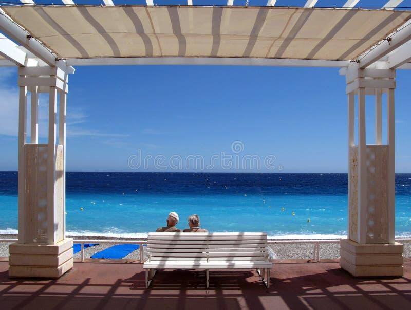 Senior romance on Cote d'Azur royalty free stock photos