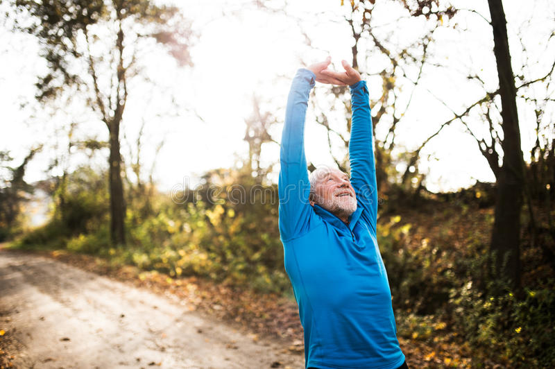 Senior runner doing stretching in sunny autumn nature. Senior runner in sunny autumn nature doing stretching. Man with gray beard and mustache wearing blue stock photos