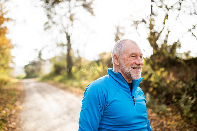 Senior runner smiling and resting in sunny summer nature. stock photo
