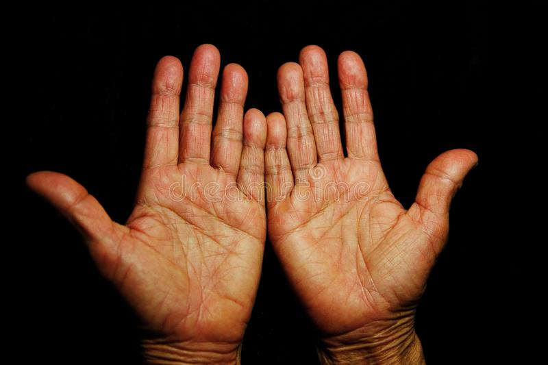 Senior& x27;s hands, isolated stock photo