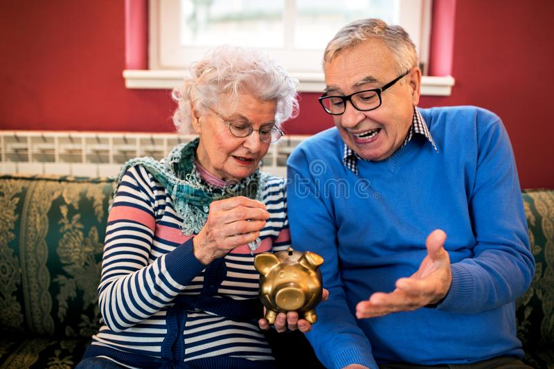 Senior couple do not have money for savings royalty free stock photography