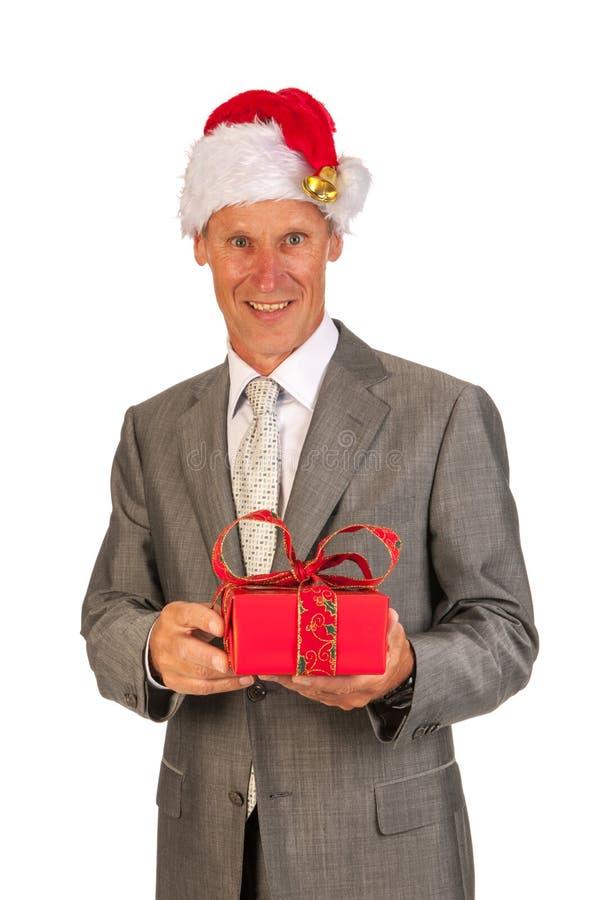 Senior Santa Claus with present