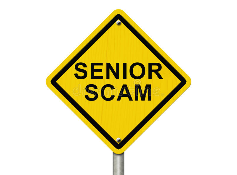 Senior Scam Warning Sign royalty free stock images