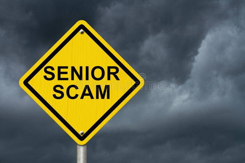Senior Scam Warning Sign royalty free stock photography