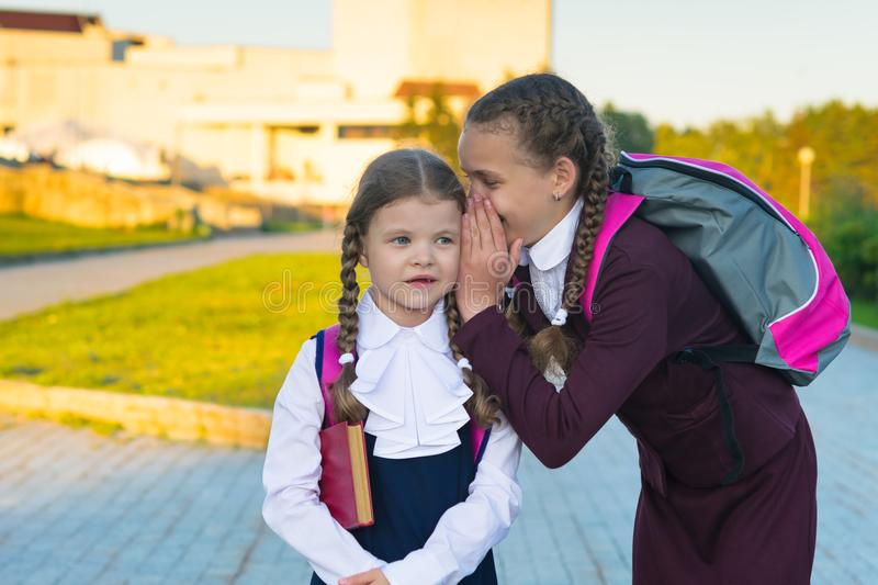 Senior schoolgirl speaks younger junior student secret in park on street royalty free stock image