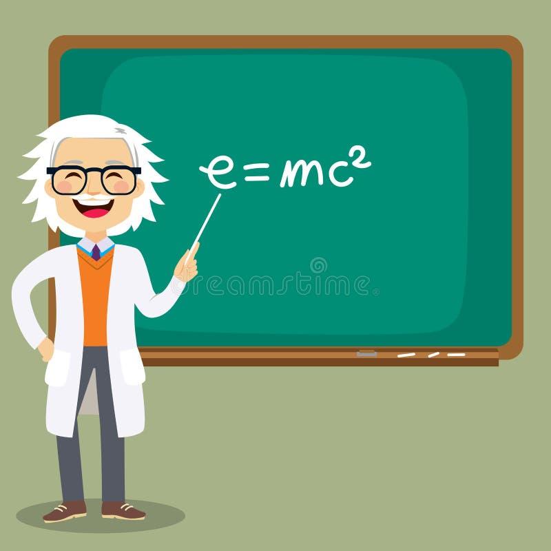 Senior Science Teacher. Old senior male science teacher teaching lesson in front of blackboard pointing at mass energy equivalence e=mc2 formula royalty free illustration