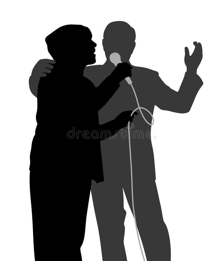 Senior singing duet stock illustration