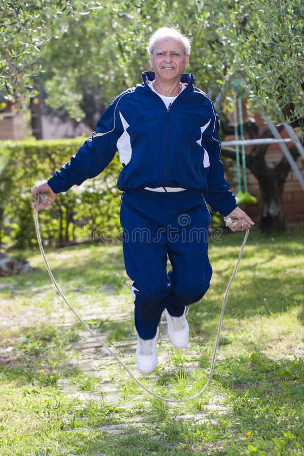 Senior Skipping Rope Outdoor royalty free stock photography