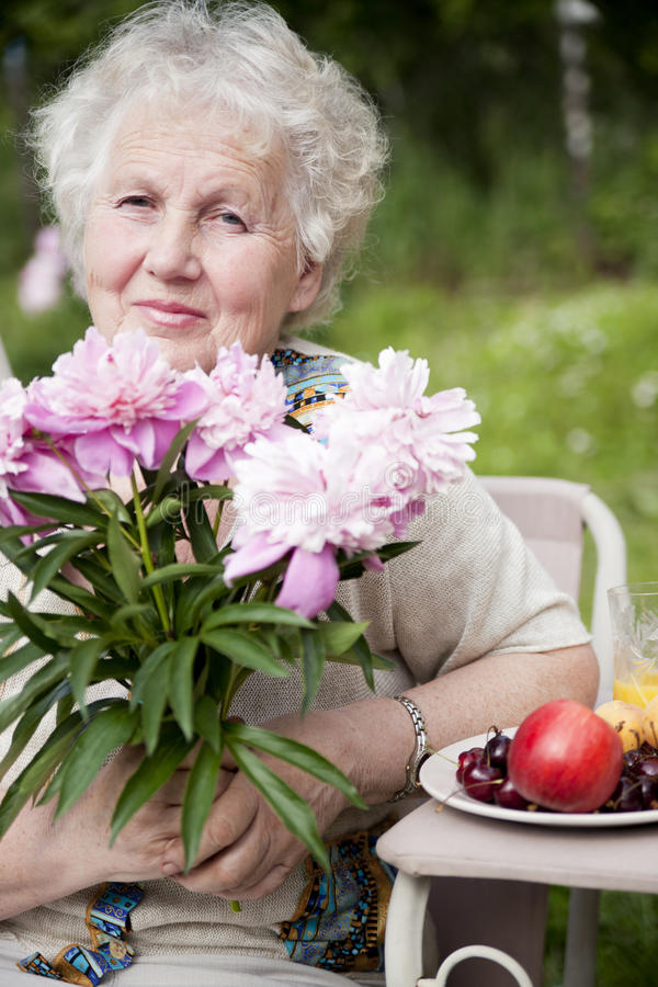 Senior smiling woman stock photography
