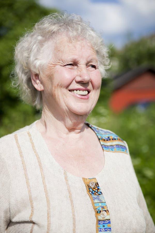 Senior smiling woman stock photo