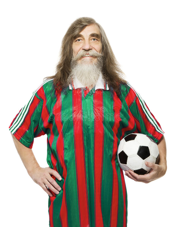 Senior soccer sport activity. Old man football fan. With ball, sportsman isolated white background stock photography