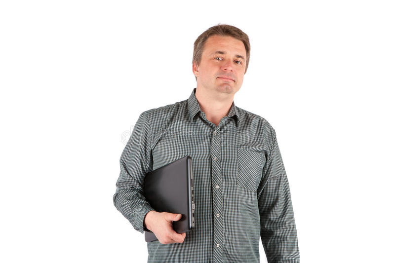 Senior IT specialist with his laptop. Isolated on white royalty free stock images