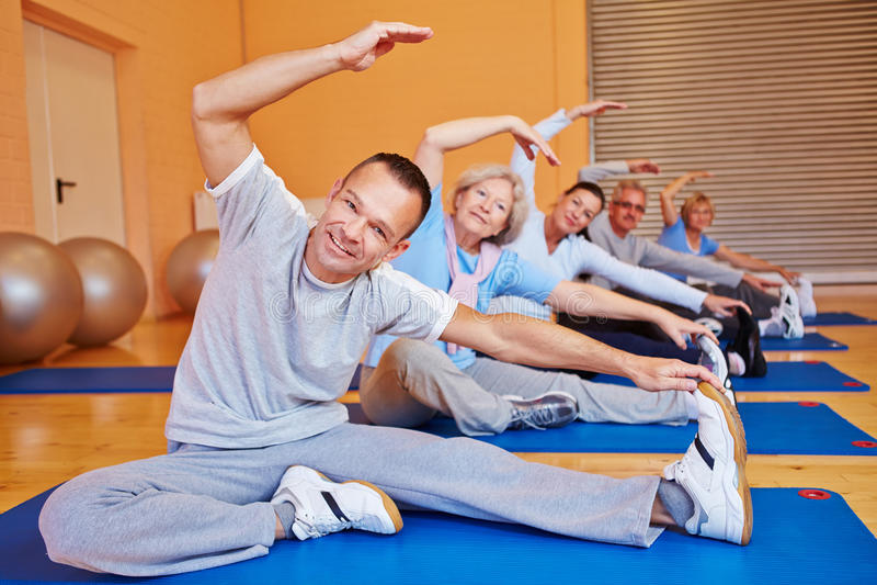 Senior sports class in health club royalty free stock photo