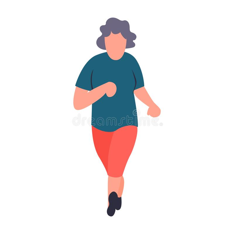 Senior sportswoman running. Old woman jogging. Recreation and leisure senior activities concept. Cartoon elderly female. Character stock illustration
