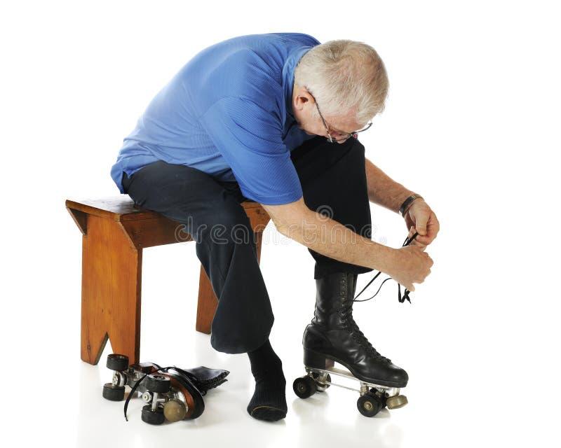 senior sznurowanie senior zdjęcie stock