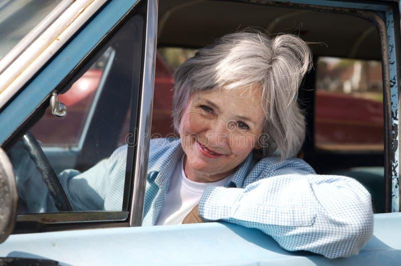 Senior Taking a Drive stock photo