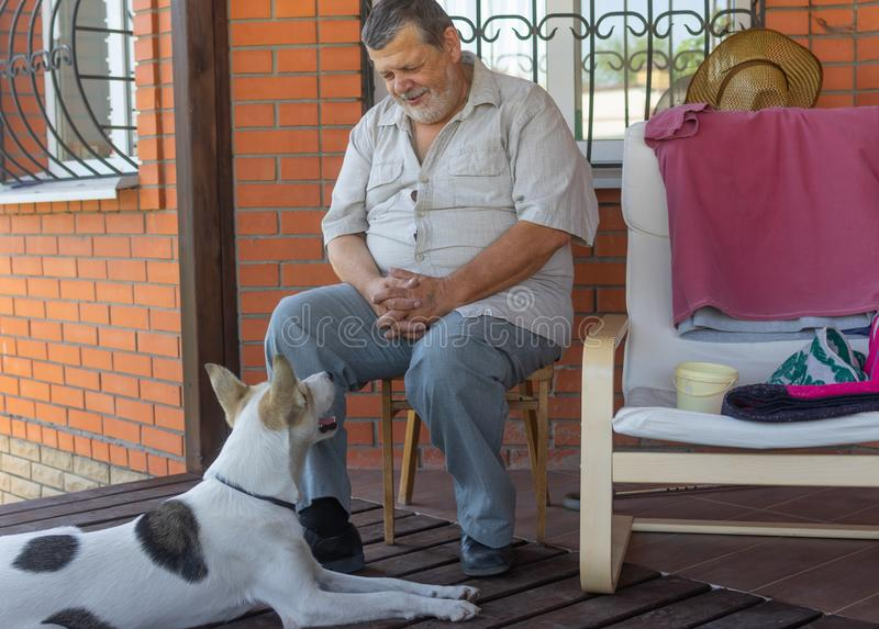 Senior talks to dog sitting near his house. The dog listen him with consideration. Bearded senior talks to dog sitting near his house. The dog listen him with royalty free stock photography