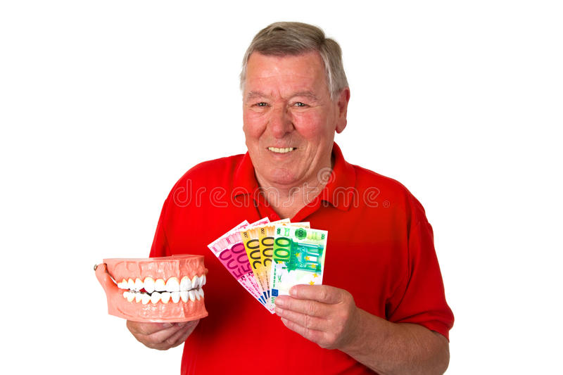 Senior with teeth model royalty free stock image