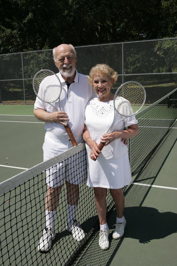 Senior Tennis Couple Full View royalty free stock photos