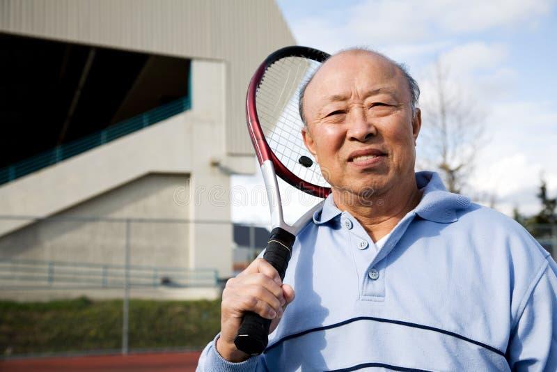 Senior tennis player royalty free stock images