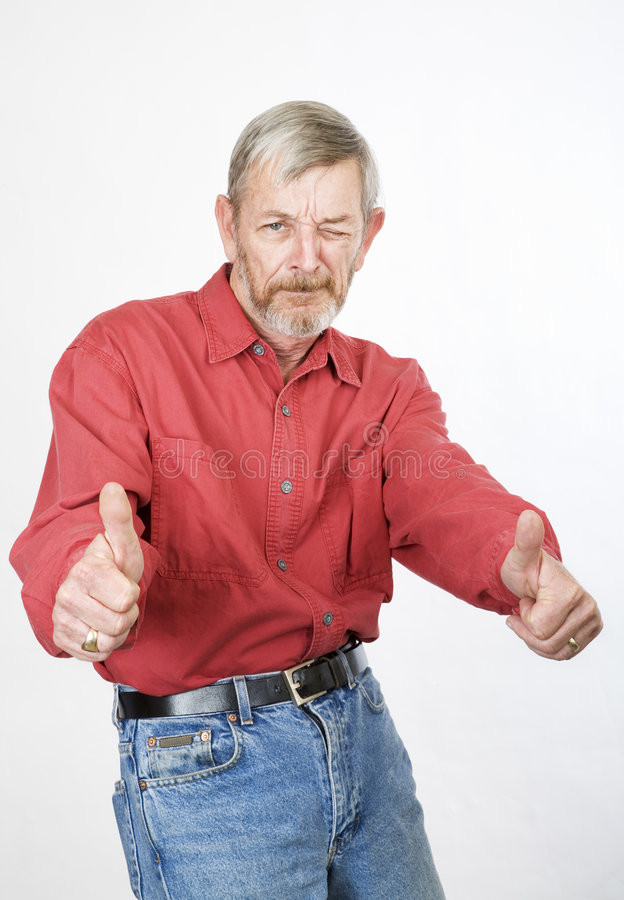 Senior thumbs up stock photos