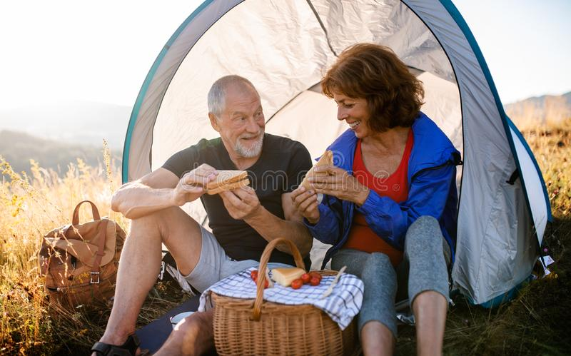 Senior tourist couple sitting in nature at sunset, eating sandwiches. A senior tourist couple with shelter sitting in nature at sunset, eating sandwiches royalty free stock photo