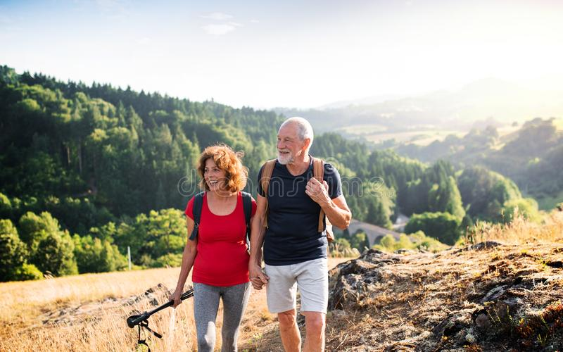 Senior tourist couple travellers hiking in nature, walking and talking. A senior tourist couple travellers hiking in nature, walking and talking stock image