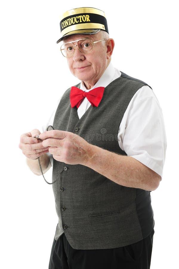 Senior Train Conductor stock photo