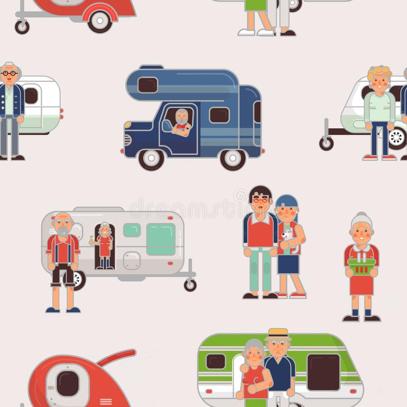 Senior travel vector elderly family couple travelling on camping trailer and retired character on a vacation motor. Caravan illustration set of grandparents on vector illustration